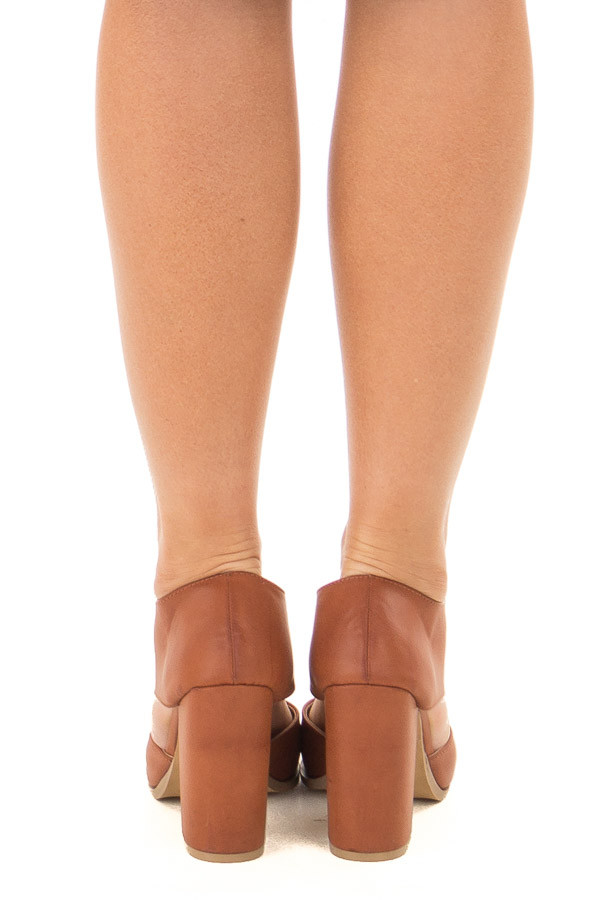 Tan Faux Leather Bootie with Cutout Details back