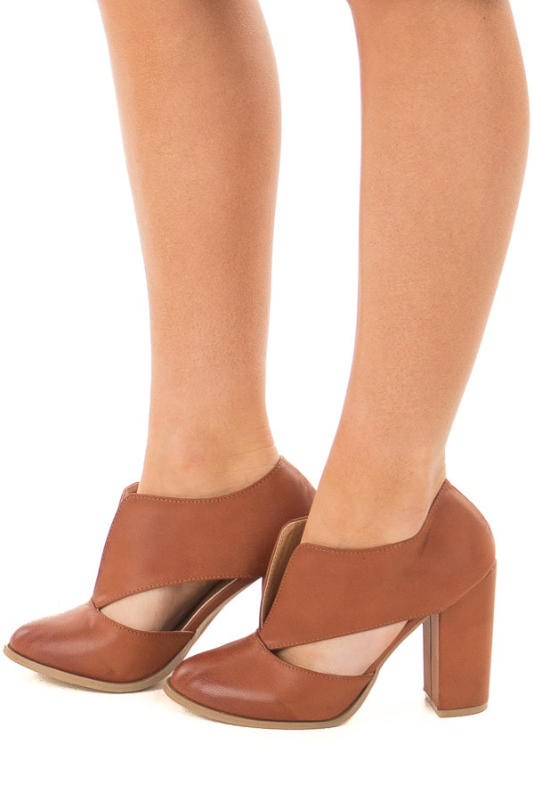 Tan Faux Leather Bootie with Cutout Details side