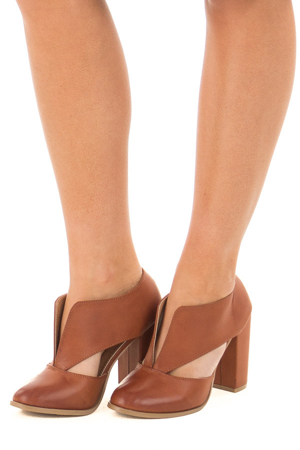 Tan Faux Leather Bootie with Cutout Details front side