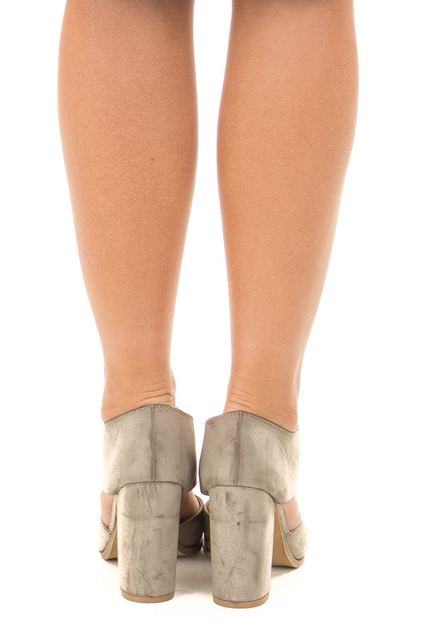 Light Grey Faux Leather Bootie with Cutout Details back