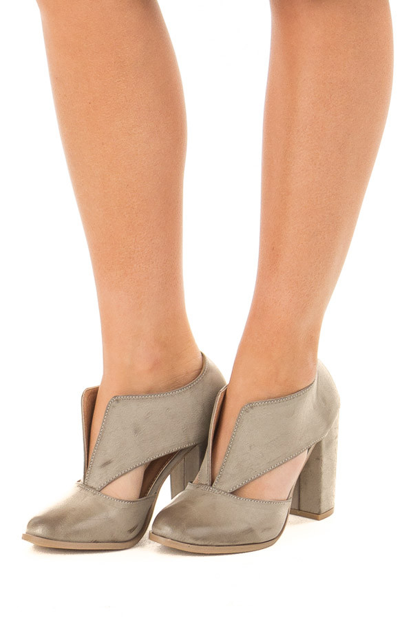 Light Grey Faux Leather Bootie with Cutout Details front side