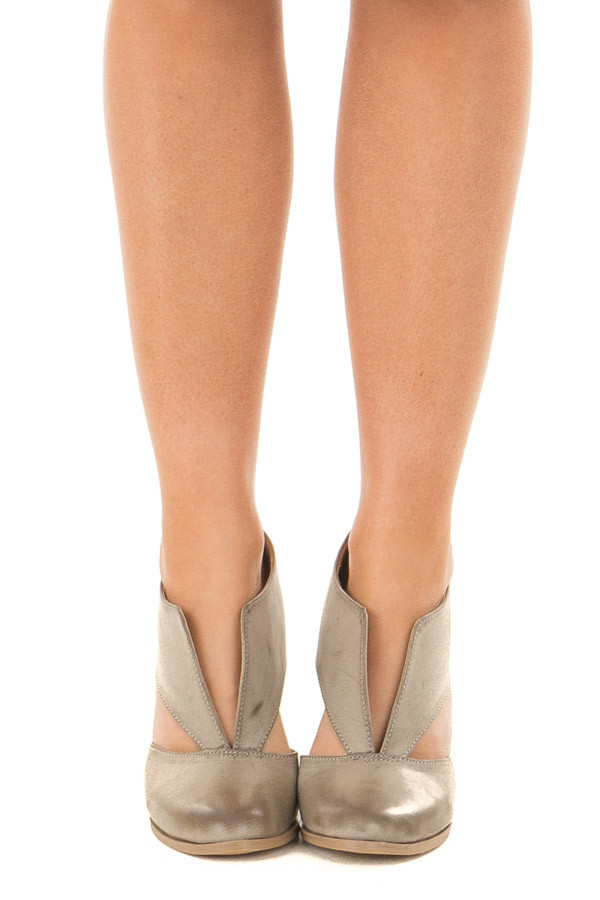 Light Grey Faux Leather Bootie with Cutout Details front