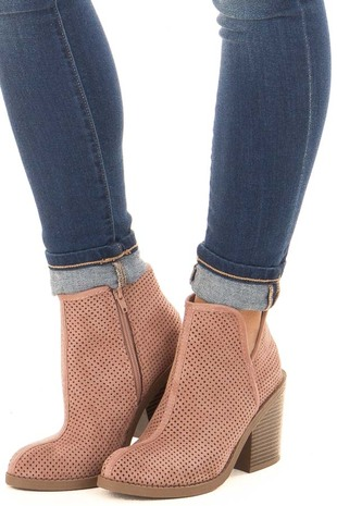 Dark Blush Faux Suede Heeled Bootie with Cutout Details front side