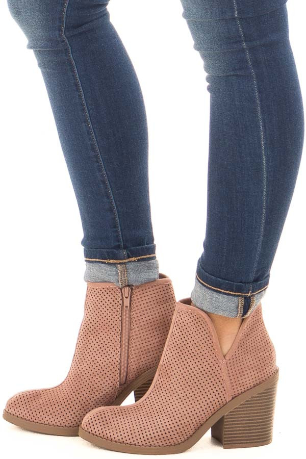 Dark Blush Faux Suede Heeled Bootie with Cutout Details side