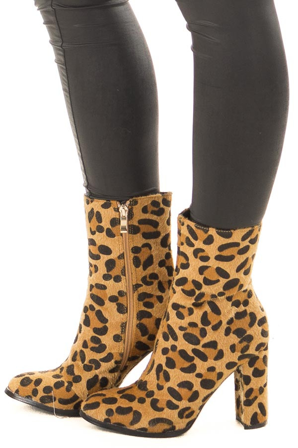 Golden Leopard Faux Fur Heeled Boot side