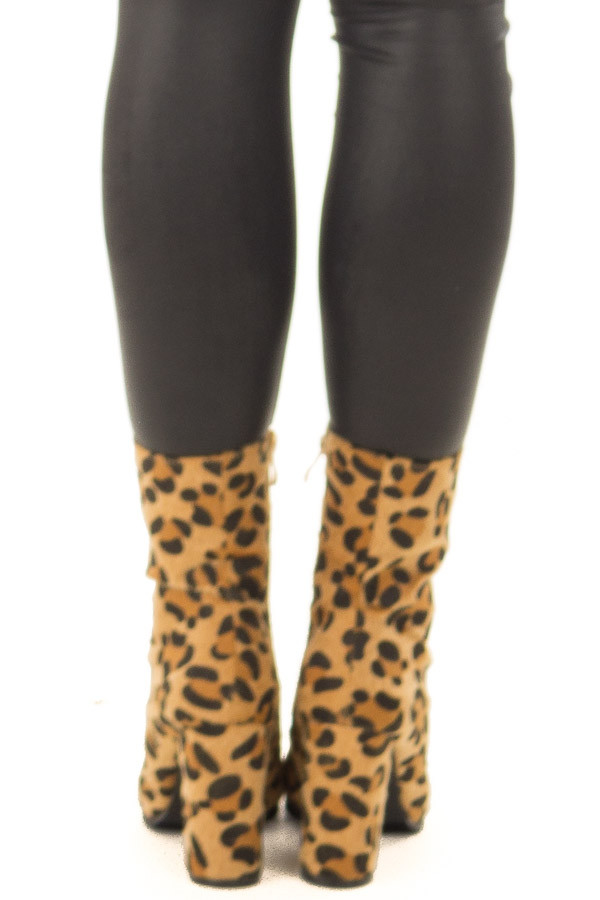 Golden Leopard Faux Fur Heeled Boot back