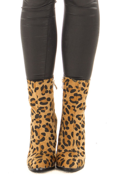 Golden Leopard Faux Fur Heeled Boot front