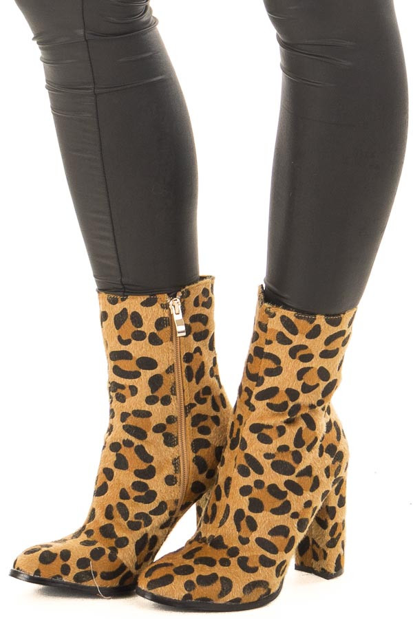 Golden Leopard Faux Fur Heeled Boot front side