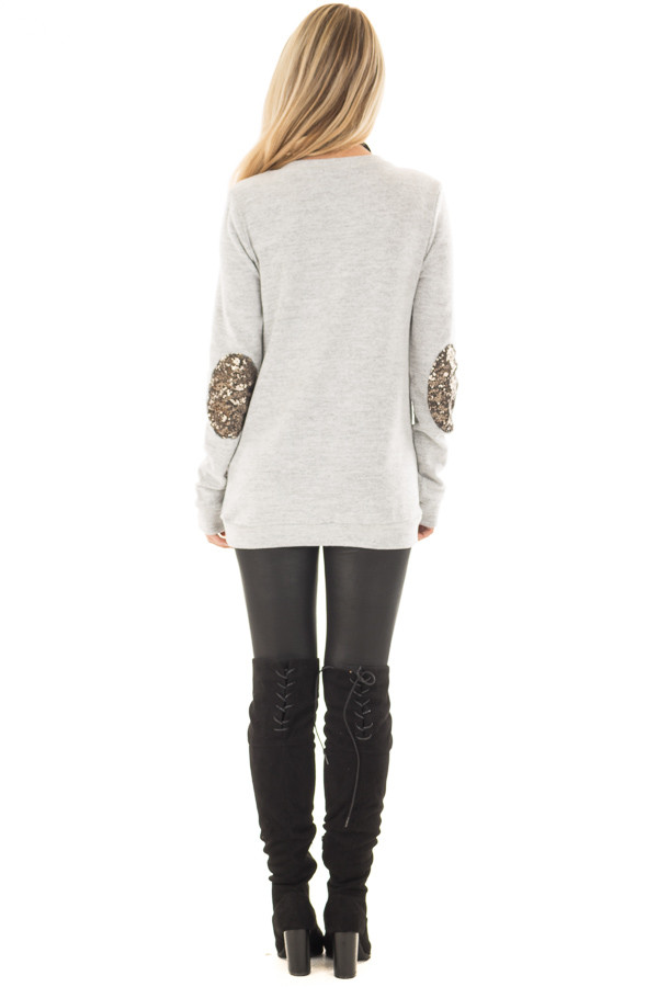 Heather Grey Soft Top with Metallic Sequin Elbow Patches back full body