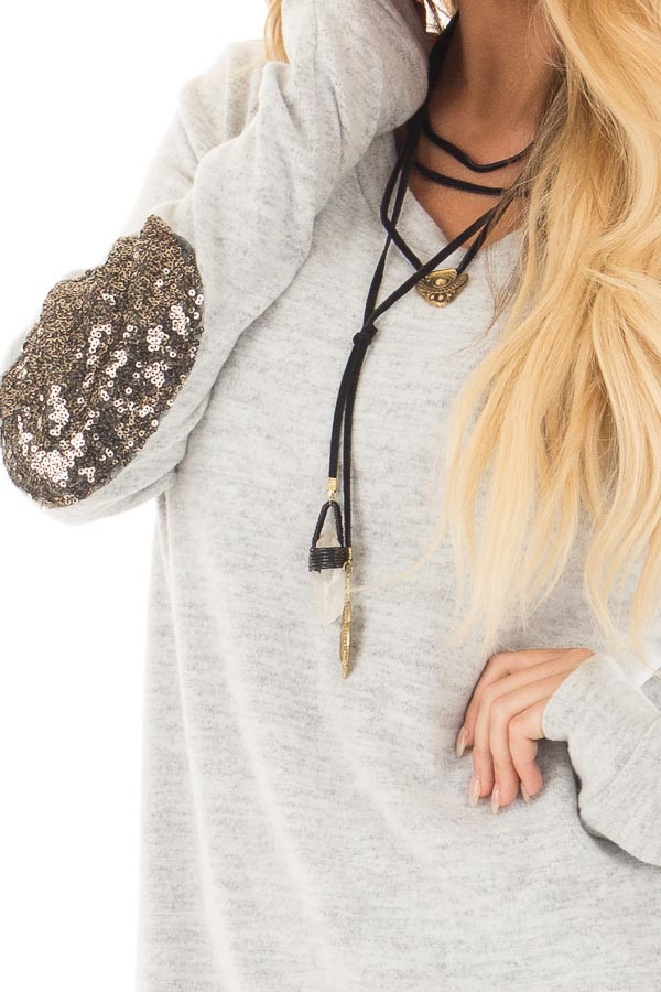 Heather Grey Soft Top with Metallic Sequin Elbow Patches front detail
