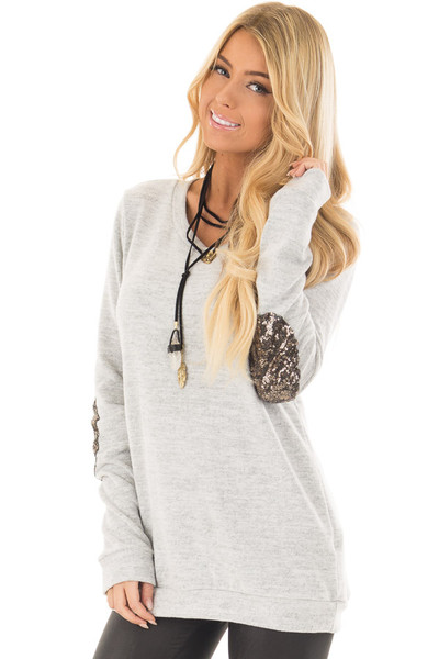 Heather Grey Soft Top with Metallic Sequin Elbow Patches front closeup