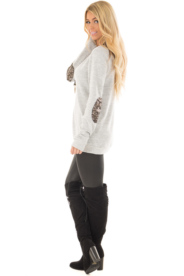 Heather Grey Soft Top with Metallic Sequin Elbow Patches side full body