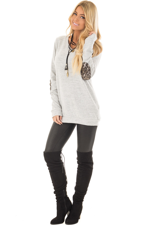 Heather Grey Soft Top with Metallic Sequin Elbow Patches front full body