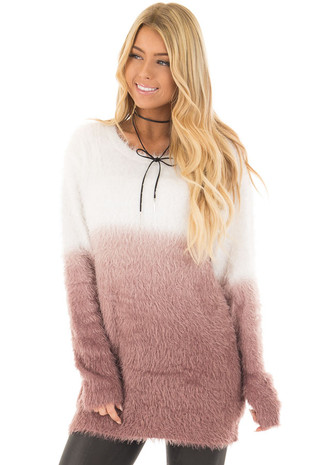 Red Bean Ombre Fuzzy Super Soft Sweater front closeup