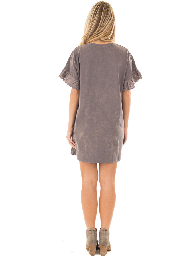 Charcoal Acid Wash Short Sleeve Tunic with Ruffle Sleeves back full body