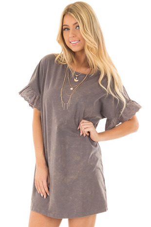 Charcoal Acid Wash Short Sleeve Tunic with Ruffle Sleeves front closeup