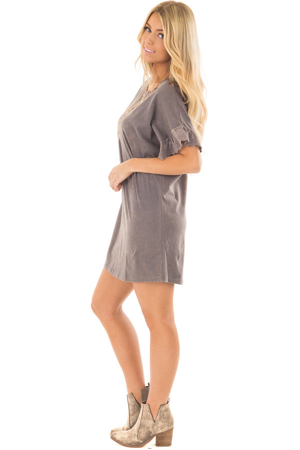 Charcoal Acid Wash Short Sleeve Tunic with Ruffle Sleeves side full body