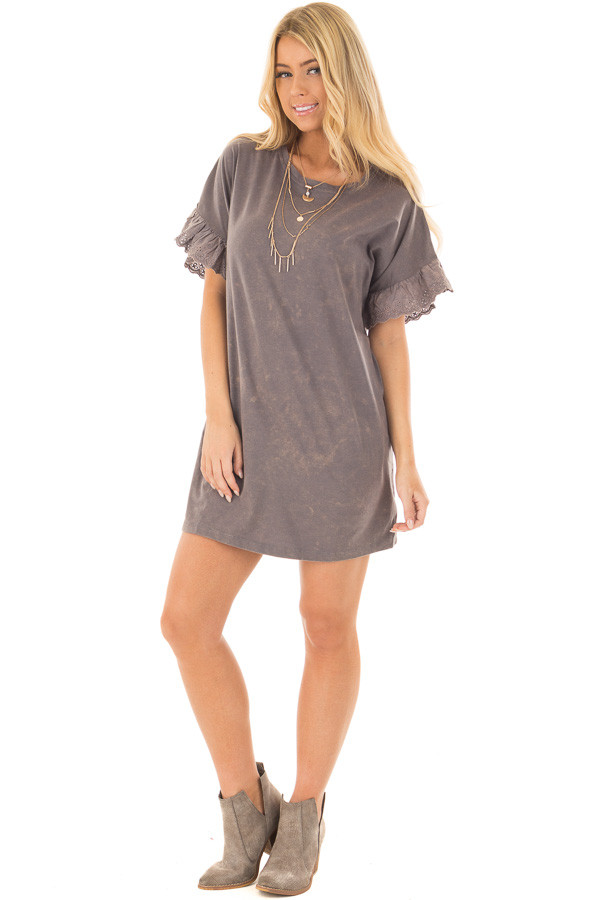 Charcoal Acid Wash Short Sleeve Tunic with Ruffle Sleeves front full body