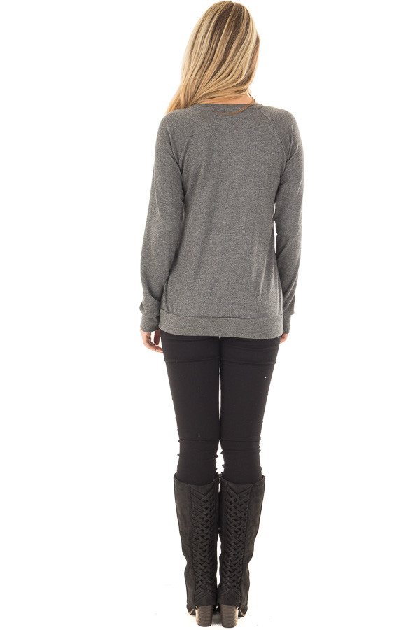 Charcoal Long Sleeve Top with Sequin Pocket back full body