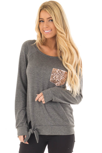 Charcoal Long Sleeve Top with Sequin Pocket front closeup
