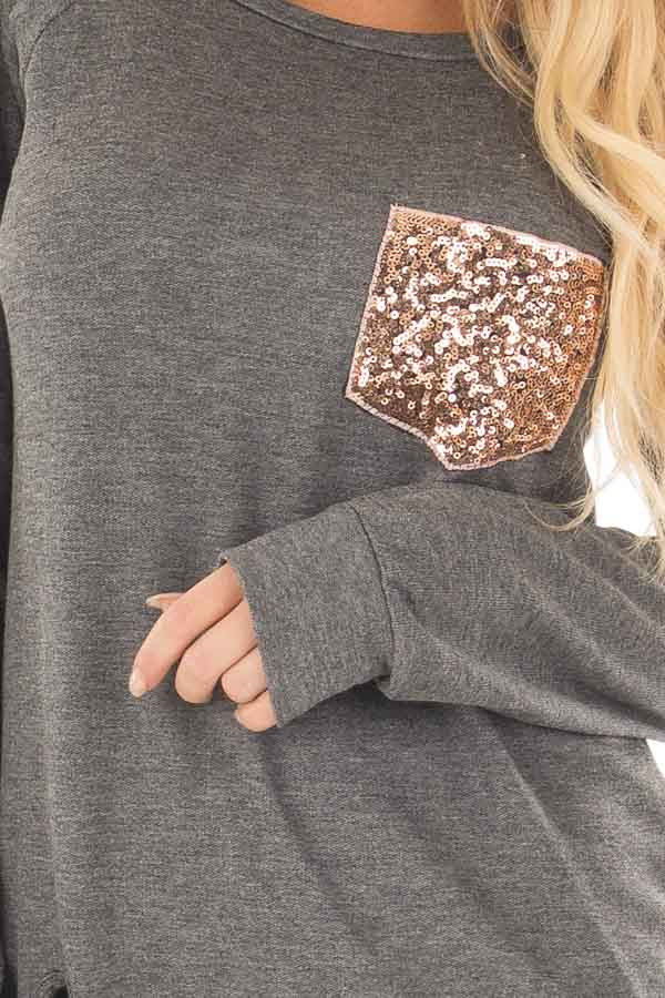 Charcoal Long Sleeve Top with Sequin Pocket front detail