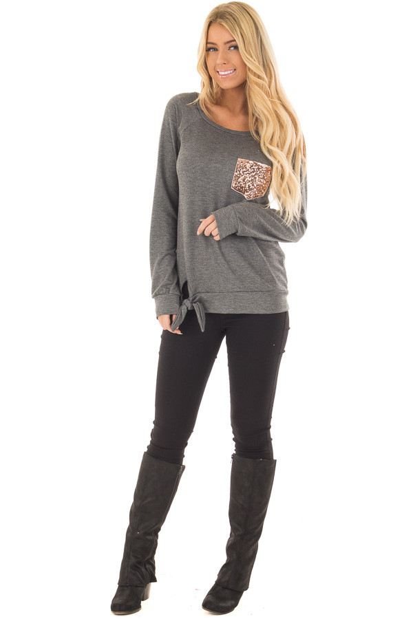 Charcoal Long Sleeve Top with Sequin Pocket front full body