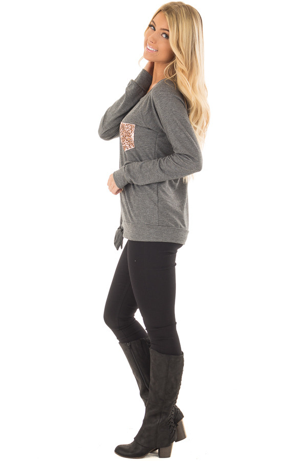 Charcoal Long Sleeve Top with Sequin Pocket side full body