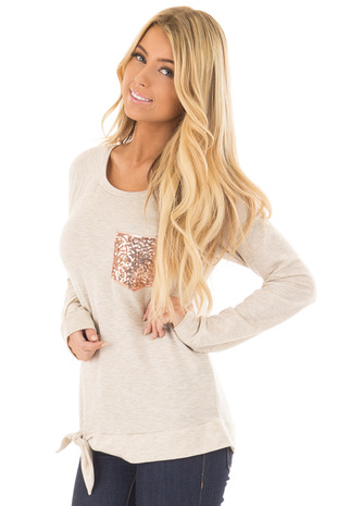 Taupe Two Tone Long Sleeve Top with Sequin Pocket front closeup