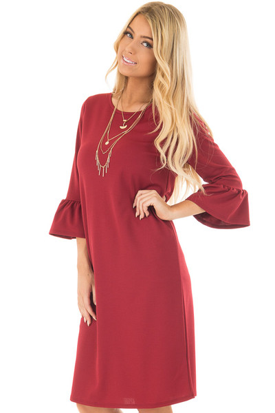 Deep Red 3/4 Sleeve Dress with Bell Flare Sleeve Detail front closeup
