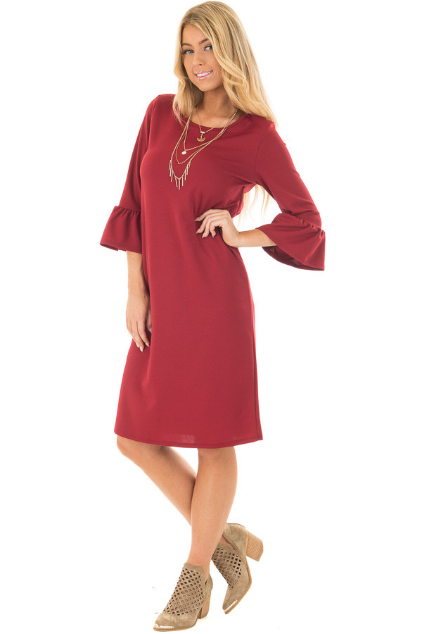 Deep Red 3/4 Sleeve Dress with Bell Flare Sleeve Detail front full body