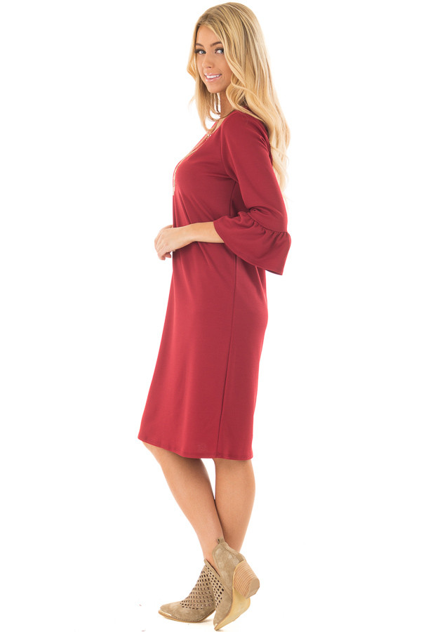 Deep Red 3/4 Sleeve Dress with Bell Flare Sleeve Detail side full body