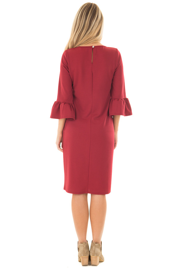 Deep Red 3/4 Sleeve Dress with Bell Flare Sleeve Detail back full body