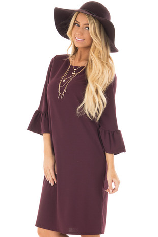 Plum 3/4 Sleeve Dress with Bell Flare Sleeve Detail front closeup