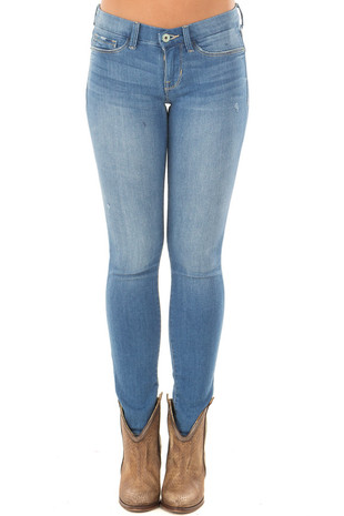 Light Denim Lightly Distressed Jegging front