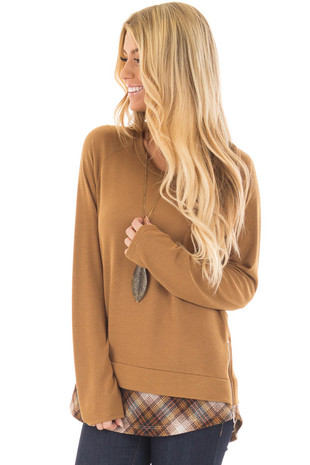Mustard Long Sleeve Top with Plaid Contrast Detail front closeup