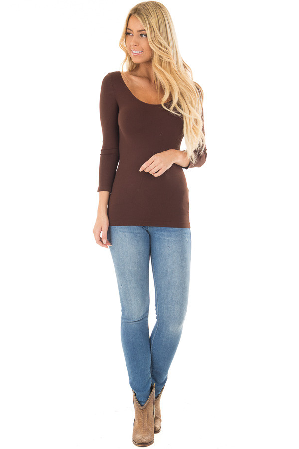 Seamless 3/4 Sleeve Scoop Neck Top front full body
