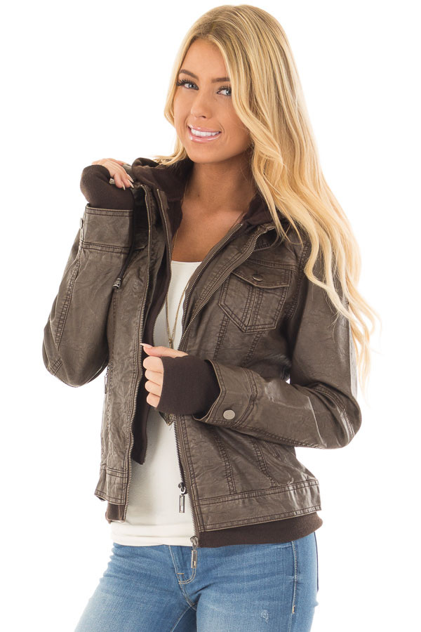 Coffee Hooded Faux Leather Jacket front closeup