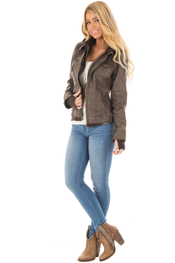 Coffee Hooded Faux Leather Jacket front full body