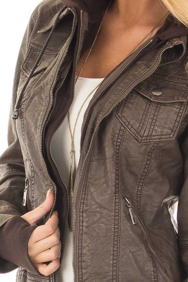 Coffee Hooded Faux Leather Jacket front detail