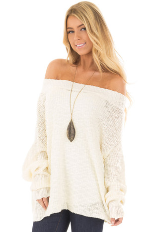 Ivory Ribbed Knit Off the Shoulder Sweater front closeup