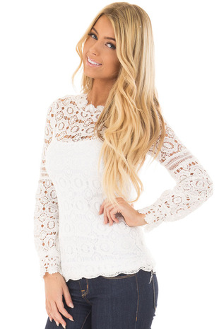 White Mock Neck Crochet Long Sleeve Top with Zipper Back front closeup