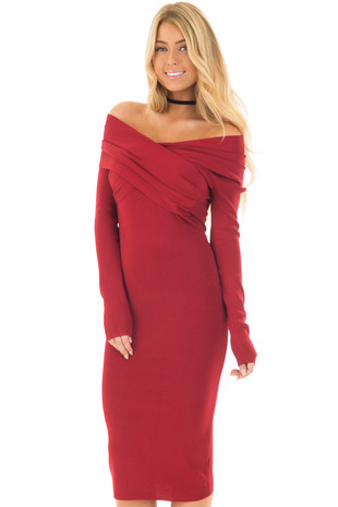 Deep Red Off the Shoulder Long Sleeve Midi Dress front closeup