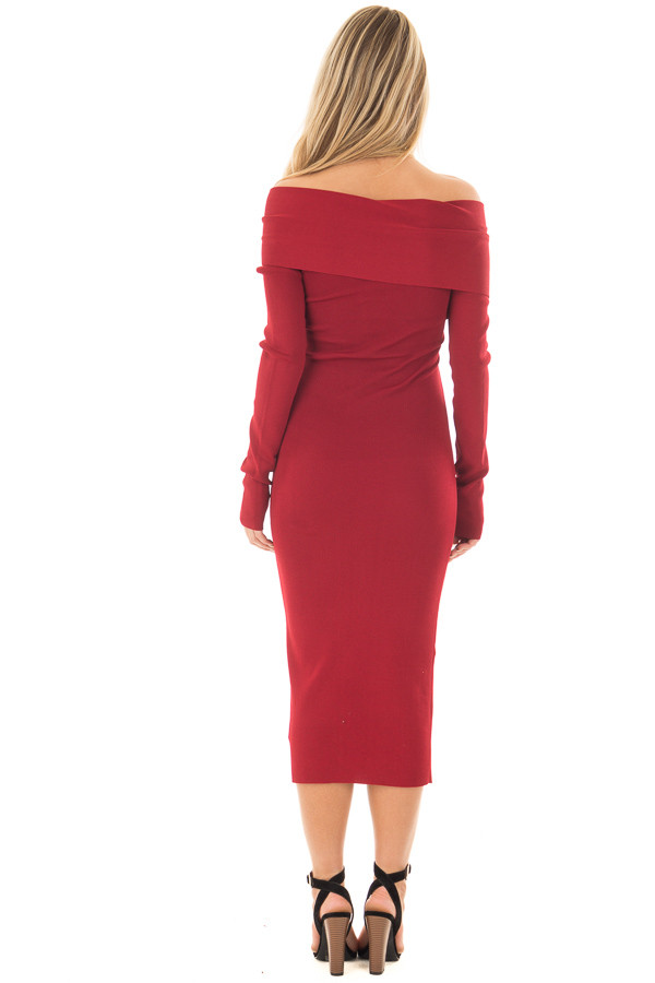 Deep Red Off the Shoulder Long Sleeve Midi Dress back full body