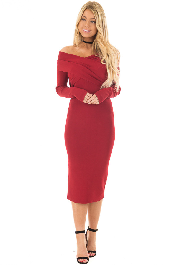Deep Red Off the Shoulder Long Sleeve Midi Dress front full body