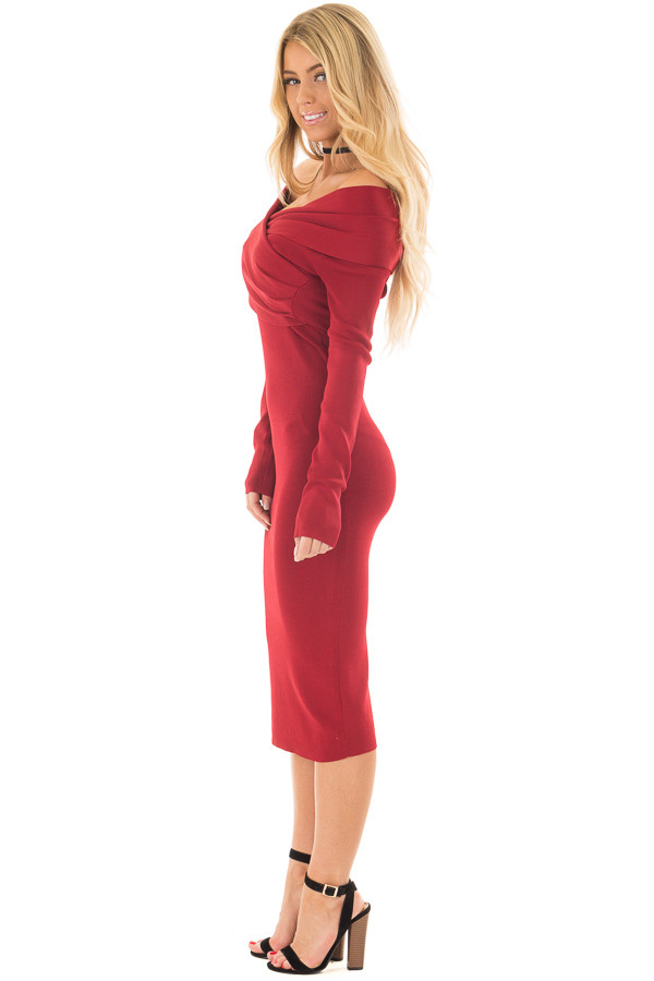 Deep Red Off the Shoulder Long Sleeve Midi Dress side full body