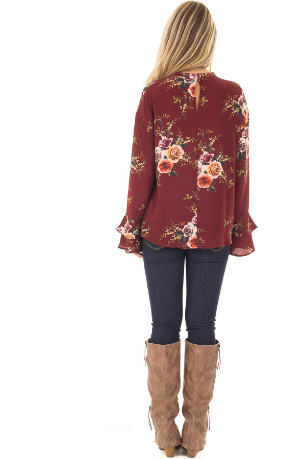 Burgundy Floral Trumpet Sleeve Blouse with Keyhole Cut Out back full body