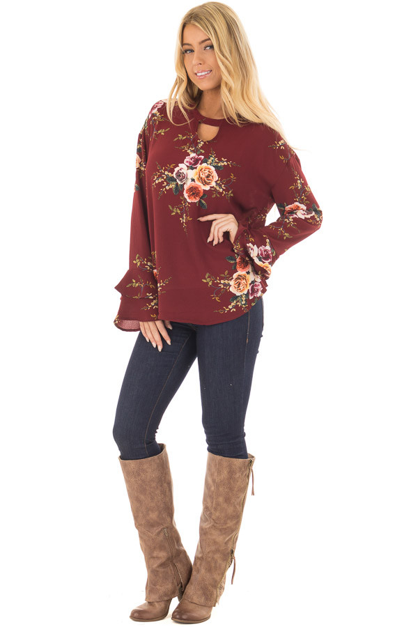 Burgundy Floral Trumpet Sleeve Blouse with Keyhole Cut Out front full body