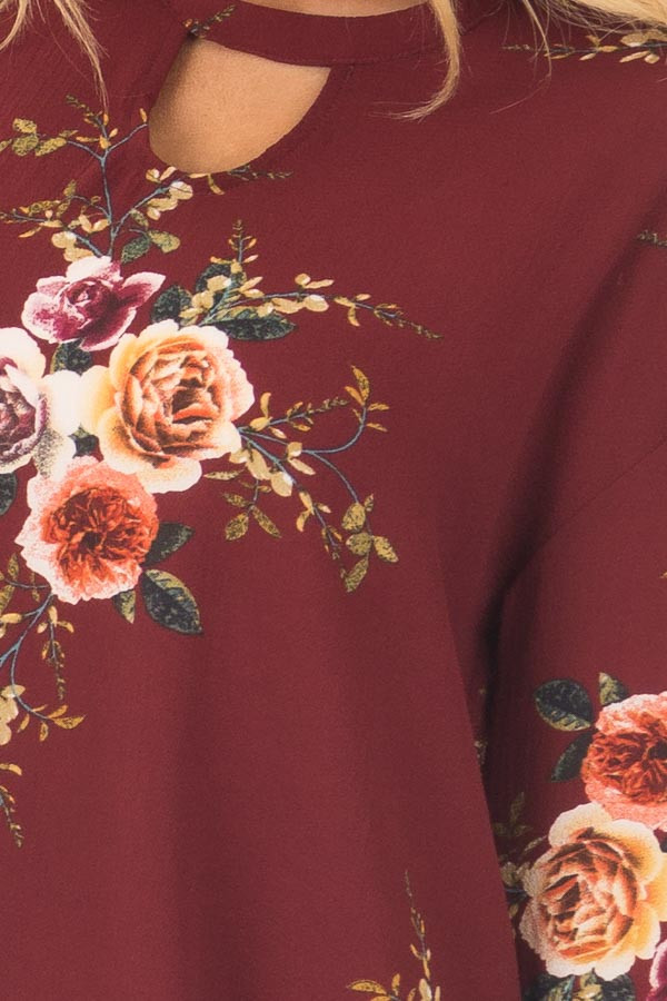 Burgundy Floral Trumpet Sleeve Blouse with Keyhole Cut Out front detail