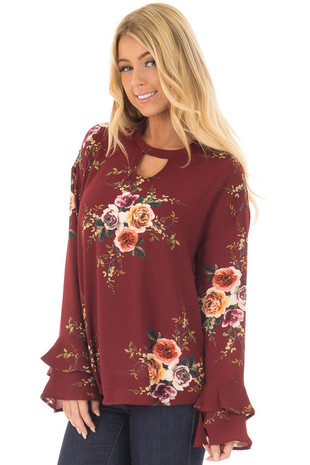 Burgundy Floral Trumpet Sleeve Blouse with Keyhole Cut Out front closeup