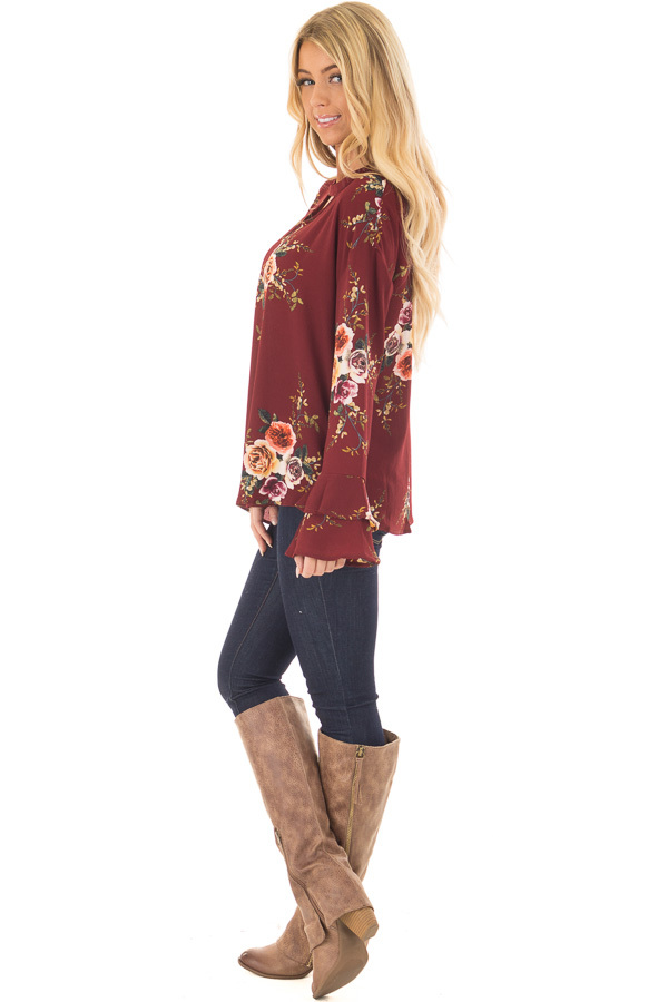 Burgundy Floral Trumpet Sleeve Blouse with Keyhole Cut Out side full body